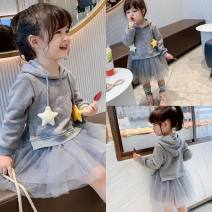 Dress grey female Other / other 90cm,100cm,110cm,120cm,130cm Polyester 100% spring and autumn Korean version Long sleeves Solid color other Splicing style Class B 2 years old, 3 years old, 4 years old, 5 years old, 6 years old, 7 years old Chinese Mainland Zhejiang Province Hangzhou