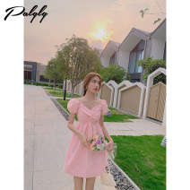 Dress Summer 2021 Light pink S M L Middle-skirt singleton  Short sleeve Sweet V-neck High waist Big swing bishop sleeve 25-29 years old Palglg Three dimensional decorative zipper 12PD12798 More than 95% other other Other 100% Pure e-commerce (online only)