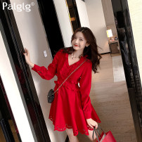 Dress Spring 2020 gules S M L Middle-skirt singleton  Long sleeves commute V-neck High waist Solid color Single breasted Big swing shirt sleeve 18-24 years old Type X Palglg Button zipper with cut-out wood ear and ruffle 94PD9968 30% and below polyester fiber Pure e-commerce (online only)
