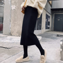 skirt Winter of 2019 Average size Black 60cm dark gray 60cm off white 60cm coffee 60cm Matcha green 60 apricot 60 black 78cm dark gray 78cm off white 78cm coffee 78cm Matcha green 78cm apricot 78cm Mid length dress commute High waist skirt Solid color Type H 18-24 years old JMFT38 More than 95% other
