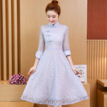 Dress Summer 2021 Light blue, pink S,M,L,XL,2XL,3XL Mid length dress singleton  three quarter sleeve commute V-neck High waist Decor Socket Big swing other Others Type A Other / other ethnic style 81% (inclusive) - 90% (inclusive) Lace polyester fiber