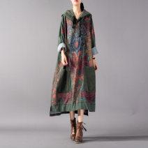 Dress Spring 2021 green Average size Mid length dress singleton  Long sleeves commute Hood Loose waist Decor Socket ethnic style Stitching, printing cotton