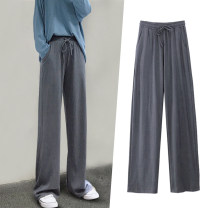 Women's large Autumn 2019, summer 2020, spring 2020 Black, dark grey trousers singleton  commute easy thick Solid color Korean version Cotton, others Three dimensional cutting Other / other 18-24 years old pocket trousers
