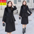 Women's large Winter 2020 black Dress Two piece set commute easy moderate Socket Long sleeves Solid color Korean version Half high collar cotton Collage routine Other / other 25-29 years old Nail bead 51% (inclusive) - 70% (inclusive) Medium length other
