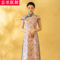 cheongsam Summer 2020 S ml XL XXL private customization / contact customer service Short sleeve long cheongsam grace High slit daily Straight front Decor Piping Beauty of the world hemp Ramie 100% Same model in shopping mall (sold online and offline) 96% and above