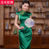 cheongsam Spring 2017 S ml XL XXL private customization / contact customer service Falling in love with the city Short sleeve long cheongsam Simplicity High slit daily Semicircle lapel Solid color Piping Falling in love with the city Beauty of the world silk Mulberry silk 100%