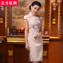 cheongsam Winter 2017 S ml XL XXL private customization / contact customer service Birds singing, pearls fragrant Short sleeve Short front and long back cheongsam Retro High slit daily Oblique lapel Big flower Embroidery Birdsong and Pearl fragrance 2 Beauty of the world silk Mulberry silk 100%
