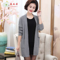 Middle aged and old women's wear Spring of 2019 fashion Knitwear / cardigan easy singleton  Solid color 40-49 years old Cardigan thin Crew neck Medium length routine Meimulian pocket other Other 100% 96% and above Pure e-commerce (online only)