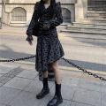 Dress Spring 2021 Black grey S, M Mid length dress Long sleeves commute V-neck Broken flowers Korean version Ruffles, folds