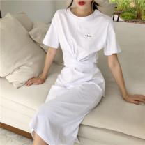 Dress Summer of 2019 White, purple, black Average size longuette Short sleeve commute Crew neck Solid color Other / other Korean version other cotton