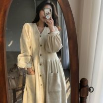 Dress Autumn of 2019 Apricot, black Average size longuette singleton  Long sleeves commute V-neck High waist Solid color Single breasted routine 18-24 years old Other / other Retro 30% and below