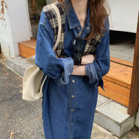 Dress Autumn 2020 Picture color Average size Mid length dress Long sleeves commute Polo collar High waist Solid color Big swing other Korean version