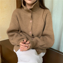 sweater Winter 2020 Average size Grey, black, brown Long sleeves Cardigan singleton  other 95% and above stand collar commute other other 18-24 years old Single breasted