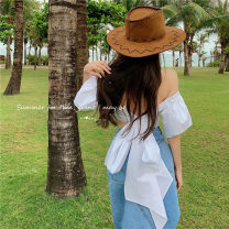 shirt Shirt, denim skirt S. M, l, average size Summer 2021 cotton 51% (inclusive) - 70% (inclusive) Short sleeve commute Short style (40cm < length ≤ 50cm) One word collar Socket puff sleeve Solid color 18-24 years old Self cultivation Other / other Korean version