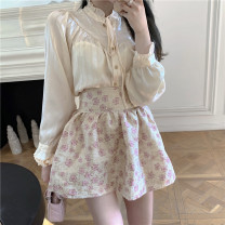 shirt Top, skirt S. M, average size Spring 2021 other 31% (inclusive) - 50% (inclusive) Long sleeves commute Regular Half high collar Single row multi button routine Solid color 18-24 years old Self cultivation Other / other Korean version