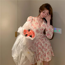 Dress Summer 2021 Pink Floral Skirt S,M,L Short skirt singleton  Long sleeves commute V-neck High waist Broken flowers Socket A-line skirt routine Others 18-24 years old Type A Other / other Korean version printing 71% (inclusive) - 80% (inclusive) Chiffon other