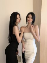 Dress Summer 2021 Black bra dress, white bra dress S, M Mid length dress singleton  Sleeveless commute One word collar High waist Solid color zipper One pace skirt routine Breast wrapping 18-24 years old Type A Other / other Korean version More than 95% other polyester fiber