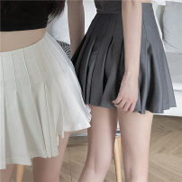 skirt Summer 2021 S,M,L Grey, white Short skirt Versatile High waist Pleated skirt Solid color Type A 18-24 years old 30% and below other Other / other other