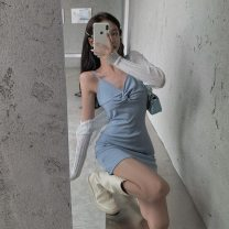 Dress Spring 2021 Apricot, light blue, black Average size Short skirt singleton  Sleeveless commute V-neck High waist Solid color Socket One pace skirt routine camisole 18-24 years old Type A Other / other Korean version backless 31% (inclusive) - 50% (inclusive) other other