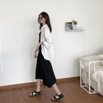 Dress Summer of 2018 Average code White shirt, black skirt Long skirt Commuting Single sleeveless V collar Pure color Middle waist Sleeve other other Other /other Korean version Type A 18-24 years old Other / other other cotton