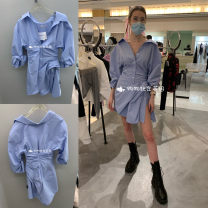 Dress Spring 2021 Credit card payment 1 % Service Charge , Do not support return, please confirm the order , Default simple package (no purchasing ticket) Take a note of the number of yards Middle-skirt singleton  Long sleeves street other Solid color Single breasted routine Others other cotton