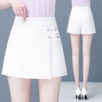 Casual pants White, black, check, beige, brown S,M,L,XL,2XL Spring 2021 shorts Wide leg pants High waist Versatile routine 81% (inclusive) - 90% (inclusive) Q312-0117 Other Cotton blended fabric zipper