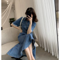 Dress Summer 2021 Dark blue (no backless), dark blue (backless) in stock S,M,L Mid length dress singleton  Short sleeve commute stand collar High waist Solid color other A-line skirt routine Others Type A FT GUOGE Korean version Pocket, stitching, three-dimensional decoration G006234