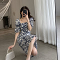 Dress Summer 2021 Decor S,M,L Mid length dress singleton  Short sleeve commute square neck High waist Decor Socket A-line skirt routine Type A FT GUOGE Korean version Splicing, three-dimensional decoration G101418