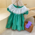 Dress green female Other / other 80cm,90cm,100cm,110cm,120cm,130cm Cotton 90% other 10% summer Korean version Short sleeve Solid color cotton other 12 months, 2 years old, 3 years old, 4 years old, 5 years old, 6 years old