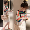 Women's large Summer 2020 White strap group + rainbow T-shirt Large XL, large XXL, large L, M Two piece set commute moderate elbow sleeve stripe Korean version Crew neck routine MAJE BRIAN 81% (inclusive) - 90% (inclusive)