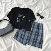 Cosplay women's wear Other women's wear goods in stock Over 14 years old Black T-shirt, blue skirt comic S. M, l, average size