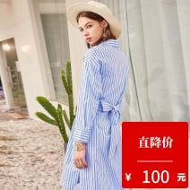 Dress Spring of 2019 blue XS,S,M,L Mid length dress singleton  Long sleeves commute other High waist Single breasted A-line skirt routine 25-29 years old Type A Hundred pictures Ol style 1902T61 cotton