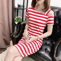 Dress Summer 2020 Rose red, black, white, white coffee thick bar, red white thick bar, black gray thick bar, thin yellow bar, white thick bar, black thick bar, black and white thick bar, wide black and white bar, wide blue coffee, wide blue red, wide blue green, thin green bar, pink thick bar commute