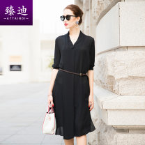 Dress Spring 2020 Pure black S M L XL Mid length dress singleton  elbow sleeve commute V-neck Loose waist Solid color Socket other routine Others 35-39 years old Type H Ataindi / Zhendi Ol style More than 95% silk Mulberry silk 100% Exclusive payment of tmall