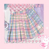 skirt Summer of 2019 S,M,L Picture color Short skirt dream Natural waist Pleated skirt lattice Type A 18-24 years old 30% and below other other 40g / m ^ 2 and below