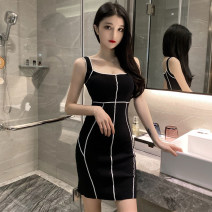 Dress Spring 2021 White, black S,M,L Middle-skirt singleton  Sleeveless commute square neck High waist other Socket One pace skirt camisole Type H backless 31% (inclusive) - 50% (inclusive) knitting other
