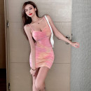 Dress Summer 2021 Pink tie dye S,M,L Short skirt singleton  Sleeveless commute V-neck High waist Solid color Socket One pace skirt camisole Type H Korean version Pleating, backless, tie dyeing 657# 31% (inclusive) - 50% (inclusive) other polyester fiber