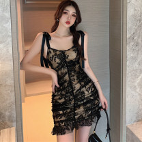 Dress Spring 2021 White, black S,M,L Short skirt singleton  Short sleeve commute V-neck High waist Solid color Socket routine camisole 25-29 years old Pleated, open back, pleated, Gouhua, hollow, lace up More than 95% Lace other