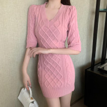 Dress Spring 2021 Gray, white, red, black, pink S,M,L Short skirt singleton  elbow sleeve commute V-neck High waist Solid color Socket One pace skirt routine 25-29 years old Korean version Q5240# More than 95% other other