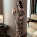 Dress Summer 2021 Leopard yellow S,M,L Mid length dress singleton  Sleeveless commute V-neck High waist Leopard Print Socket One pace skirt routine Hanging neck style Type A Retro Backless, printed 7998# 91% (inclusive) - 95% (inclusive) other polyester fiber