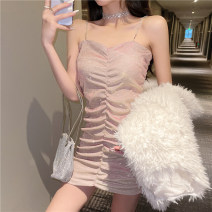 Dress Spring 2021 Picture color S,M,L Short skirt singleton  Sleeveless commute V-neck High waist Solid color Socket A-line skirt routine camisole 25-29 years old Type A Tuck, open back, fold, Sequin More than 95% other polyester fiber