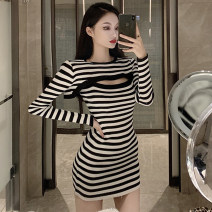 Dress Spring 2021 Black, striped S,M,L Short skirt Two piece set Long sleeves commute other High waist other other other routine Others 25-29 years old Type A straps More than 95% other polyester fiber