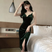 Dress Summer 2021 green S,M,L Mid length dress singleton  Sleeveless commute V-neck High waist Solid color Socket One pace skirt camisole Type H backless 81% (inclusive) - 90% (inclusive) other other