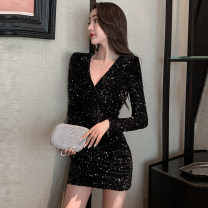 Dress Spring 2021 black S,M,L,XL Short skirt singleton  Long sleeves commute V-neck High waist Solid color Socket One pace skirt routine Others T-type Korean version Pleats, sequins, zippers 71% (inclusive) - 80% (inclusive) other Cellulose acetate
