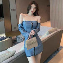 Dress Autumn 2020 blue S,M,L Short skirt Two piece set Long sleeves commute One word collar High waist Solid color zipper other Breast wrapping 25-29 years old Open back, zipper 2017# More than 95% other other