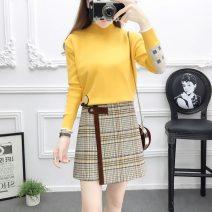 Fashion suit Autumn 2020 S,M,L,XL Yellow top + card skirt, white top + purple skirt, yellow top, white top, card skirt, purple skirt Other / other