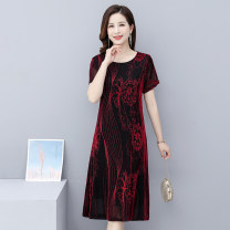 Middle aged and old women's wear Summer 2020 1, 2, 3, 4, 5, 6, 7, 8 XL,XXL,XXXL,4xl,5xl fashion Dress Self cultivation singleton  Decor 40-49 years old Socket thin Crew neck routine Gauze Medium length Pencil skirt