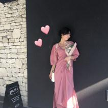 Dress Summer of 2019 Peach red S,M,L Mid length dress singleton  Short sleeve commute V-neck High waist Solid color Socket Big swing other Type H The Farr family Korean version