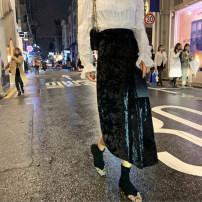 skirt Winter of 2019 S,M,L Black, champagne Mid length dress Retro High waist Irregular Type A
