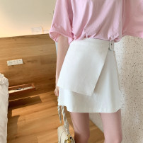 skirt Summer 2020 S,M,L White, lotus root powder Short skirt commute High waist A-line skirt Solid color Type A 25-29 years old Korean version